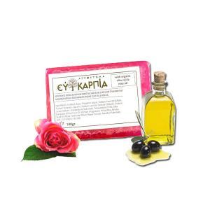 Bi-Care Χειροποίητο Φυσικό Σαπούνι με Βιολογικό Λάδι Ελιάς & Έλαιο Τριαντάφυλλου 100g - Αγρόκτημα Ευκαρπία