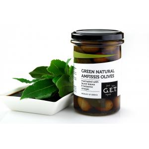 Green Natural Amfissis Olives with Laurel Leaves & Balsamic Vinegar 180g-G.E.T.