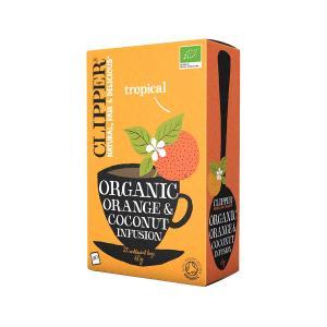 Βιολογικό Εκχύλισμα Πορτοκαλιού με Καρύδα Χωρίς Ζάχαρη (20 φάκ.) 60g | Clipper
