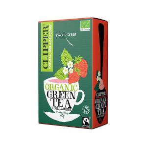 Βιολογικό Πράσινο Τσάι με Φράουλα Χωρίς Ζάχαρη (20 φάκ.) 40g | Clipper